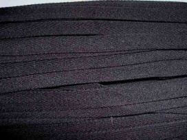 Zwart keperband van 14 mm. breed. 100% polyester