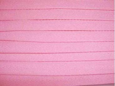 Roze keperband van 14 mm. breed. 100% polyester