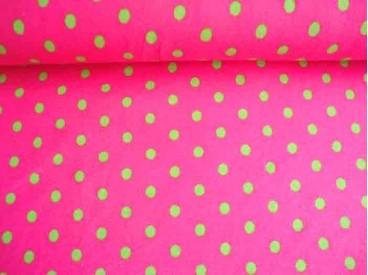 Een pinkkleurige tricot met middelgrote limekleurige stippen. Rekt zowel in de breedte als in de lengte. Doorsnee stip is 9 mm.