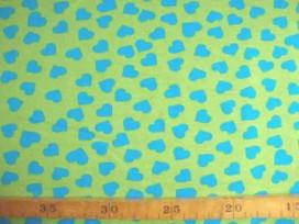 Een limekleurige tricot met aquakleurige hartjes. Rekt zowel in de breedte als in de lengte. 95%co/5%el. 1,50 mtr. br. 200gr/m2