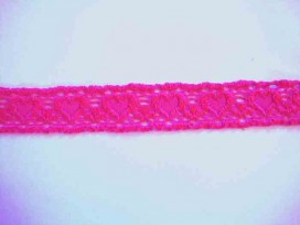 Elastisch kant met hartjes Pink 25mm.