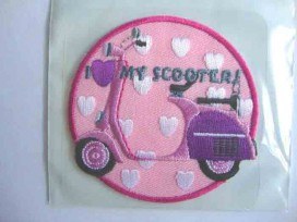 Hartjes applicatie Roze cirkel I love my scooter