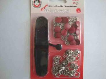 Rode inslagdrukkers. 15 stuks met een doorsnee van 10.5 mm.