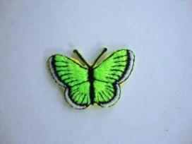 Een opstrijkbare vlinder applicatie van 3 x 2.5 cm. Neon groen