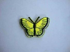 Een opstrijkbare vlinder applicatie van 3 x 2.5 cm. Neon geel