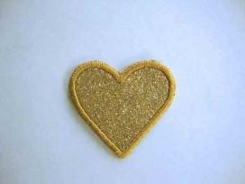 Hartjes applicatie Glitter Goud met goud randje