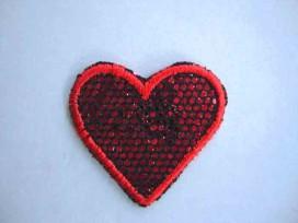 Hartjes applicatie Glitter Rood met rood randje