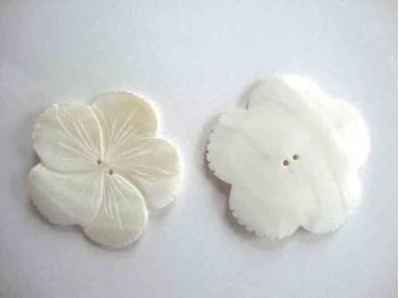 Een exclusieve parelmoerknoop in een bloemvorm met een doorsnee van 50 mm.