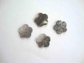 Parelmoerknoop Bloem Zilver/zwart 20mm 2597-281ex