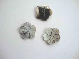 Parelmoerknoop Bloem Zilver/zwart 28mm 2597-44ex