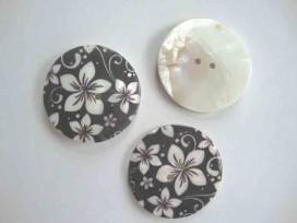 Parelmoerknoop met zwart/ivoor bloem 45mm 2596-70-14ex