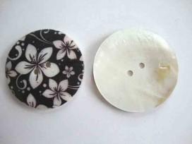 Parelmoerknoop met zwart/ivoor bloem 50mm 2569-80-14ex