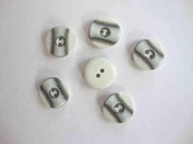Zwart/wit knoop met 2 streepjes 15mm. zw267