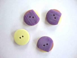 5e Kunststof knoop Paars/roze/geel met punt 20mm. 704-ks2