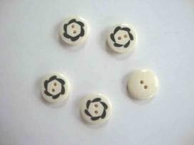 Zwart/wit knoop met golf cirkel 15mm. zw268