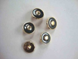 Damesknoop Sjiek Donkerblauw/gouden cirkel 15mm. dks242