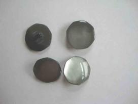 5b Kunststof knoop 6 hoekig parelmoerlook Grijs 22mm. 401-S3