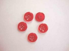 Kunststof knoop 4 gaats doorschijnend Rood 15mm. 410-S4