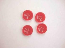 5b Kunststof knoop 4 gaats doorschijnend Rood 18mm. 411-S4