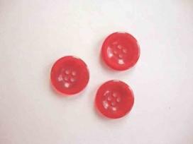 Kunststof knoop 4 gaats doorschijnend Rood 20mm. 412-S4