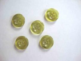 5d Kunststof knoop 4 gaats doorschijnend Groen 15mm. 413-S4