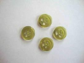 5e Kunststof knoop 4 gaats doorschijnend Groen 18mm. 414-S4