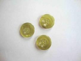 5f Kunststof knoop 4 gaats doorschijnend Groen 20mm. 415-S4
