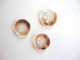 Kunststof knoop 4 gaats doorschijnend Donkerbruin 18mm. 434-S4