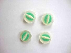 Kunststof knoop half om half doorschijnend Groen 18mm. 449-S5