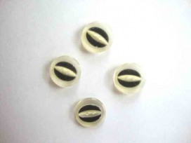 Kunststof knoop half om half doorschijnend Zwart 18mm. 461-S5