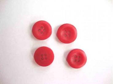 5b Kunststof knoop 4-gaats Rood 15mm. 471-S6