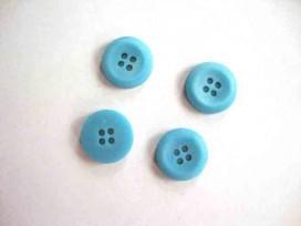 6j Kunststof knoop 4-gaats Aqua 15mm. 504-S6