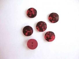 Kunststof 2 gaats knoop Rood met zwarte vlek 15mm. 511-S7