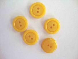 Kunststof knoop 2 gaats Geel 15mm. 543-S8