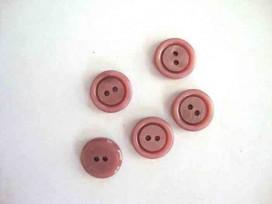 Kunststof knoop 2 gaats Oudroze 15mm. 555-S8