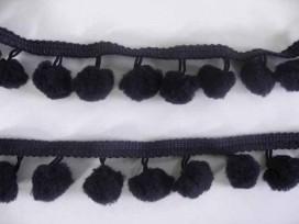 Bolletjesband pompom mini Zwart