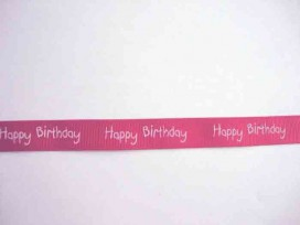 4x Ribsband Happy Birthday Rood 15mm. 1220-250H