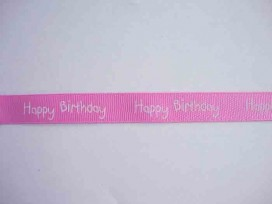 Ripsband Happy Birthday Roze 15mm. 1220-445H