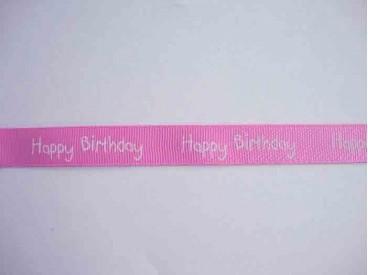 4y Ribsband Happy Birthday Roze 15mm. 1220-445H