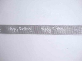 Ripsband Happy Birthday Grijs 15mm. 1220-012H