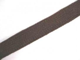 Bruin tresband van 20mm. breed. Rekt in de breedte maar niet in de lengte.
