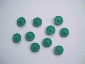 Groene opnaaibare pailletten. 10 stuks per zakje.  Doorsnee 12 mm.  De prijs is voor 1 zakje met 10 pailletten