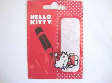 Hello Kitty opstrijkbare en opschrijfbare applicatie van 9x4 cm.