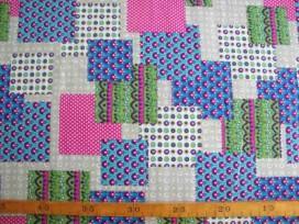 Dapper katoen Blauwe patchwork 4033-52N