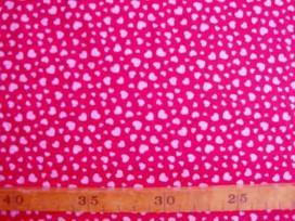 Dapper katoen Rood met roze mini hartjes 4051-17N