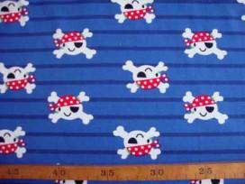 Dapper tricot Blauwe breedtestreep met piraatjes 4364-8N
