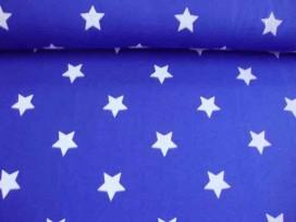 Een hele mooie kwaliteit kobaltkleurige joggingstof met een witte ster. Heel geschikt voor een huispak.  Doorsnee  ster: 4 cm.
