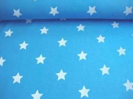 Mooie kwaliteit aquakleurige joggingstof met een witte ster. Doorsnee ster is 4 cm.  65%co/35%pe.  1.40 mtr. br.