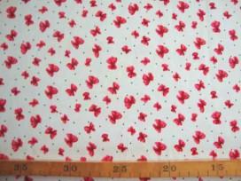 Stretch katoen Wit met kleine rode strikjes 4235-15N