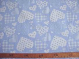 Hartjesmotief katoen Lichtblauw/wit 5648-2N